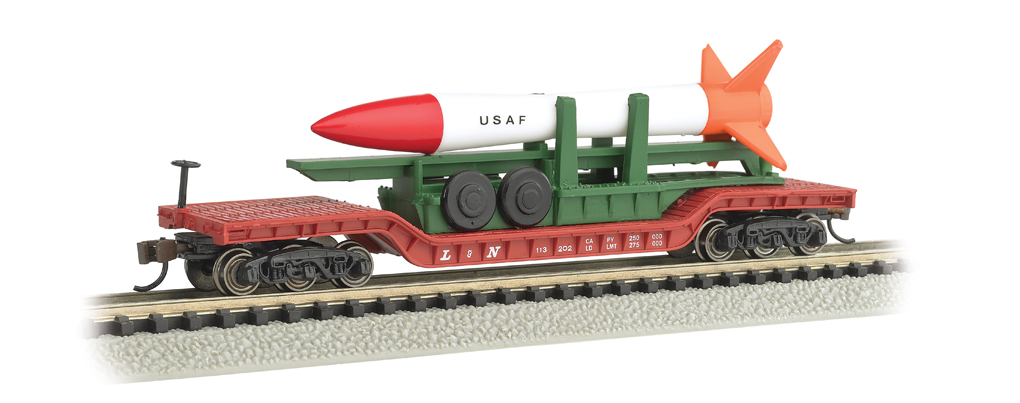 52' Center-Depressed Flat Car w/ Missile (N Scale)