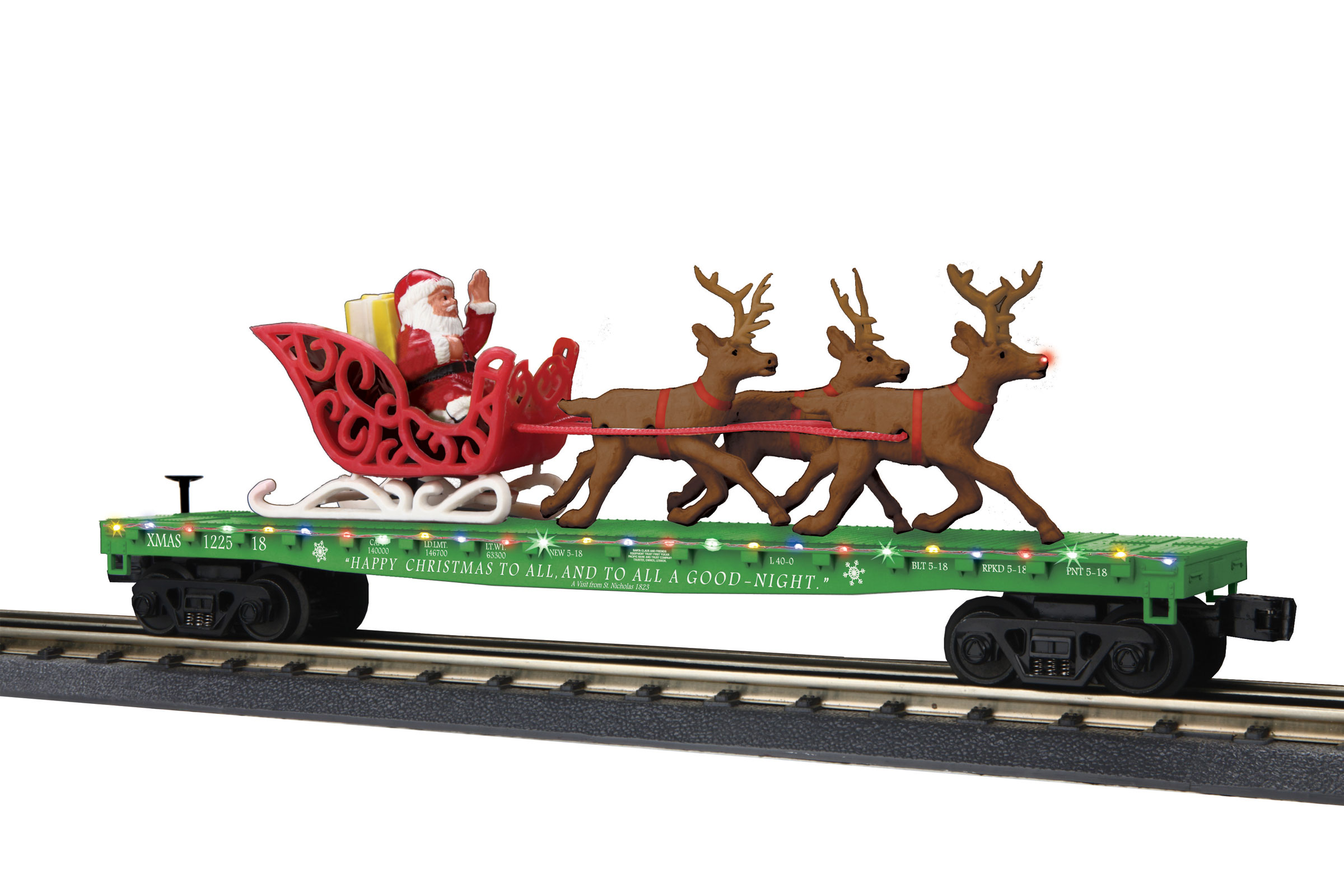 O Gauge RailKing Flat Car w/LED Lights, Santa Sleigh & Reindeer