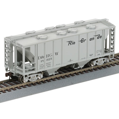 HO RTR 34' PS2 2003 2-Bay Cov Hopper, D&RGW #18325
