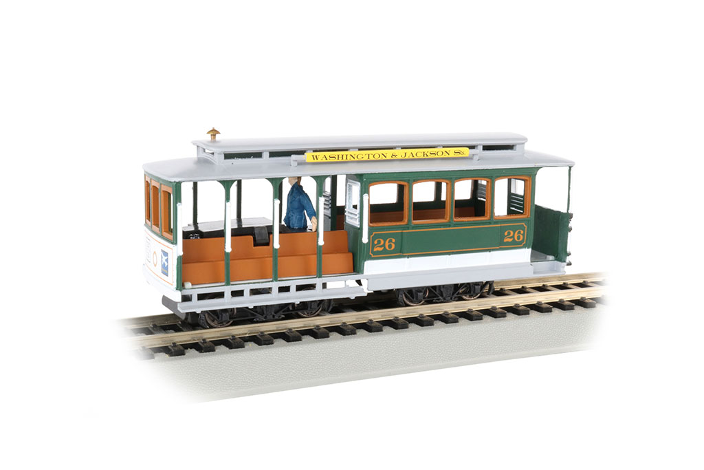 Green & Gray - Cable Car with Grip Man (HO Scale)