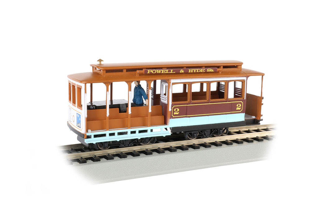 Maroon & Tan - Cable Car with Grip Man (HO Scale)