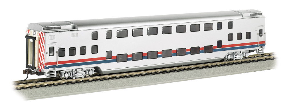 Silver Unltd w/ Red/Blue Stripes-Double Deck Commuter Car (HO)