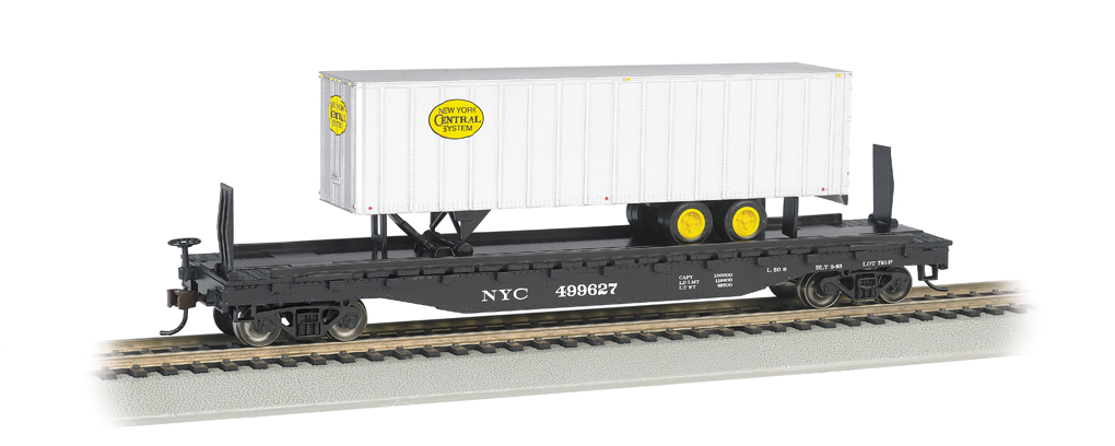 New York Central® 52ft flat car w/ NYC® 35ft Trailer (HO Scale)