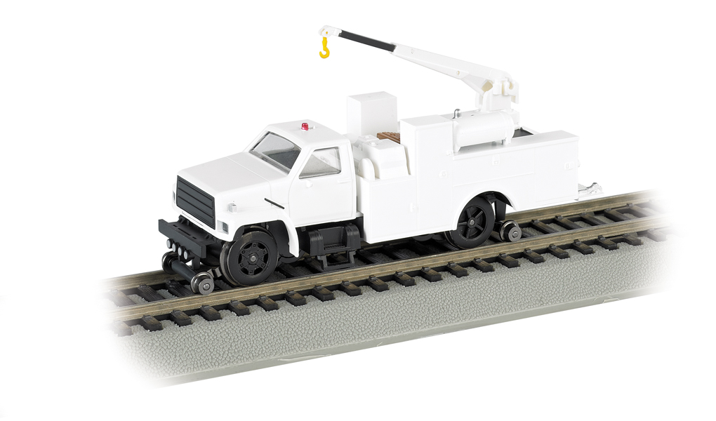 Unlettered - White - Hi-rail Equipment Truck w/ crane - DCC (HO)