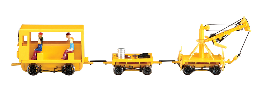 Speeder With Work Crane & Cart (HO Scale)