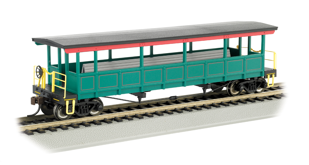 Painted, unlettered-Red/Green/Gold - Open-Sided Excursion Car HO