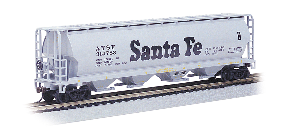 Santa Fe - 4 Bay Cylindrical Grain Hopper (HO Scale)