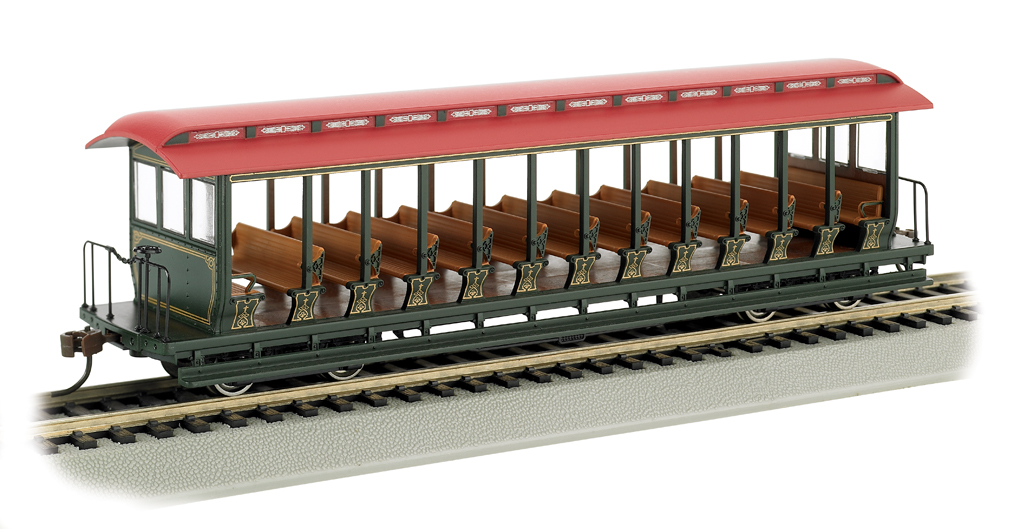 Unlettered Green/Red - Jackson Sharp Open-Sided Excursion Car HO