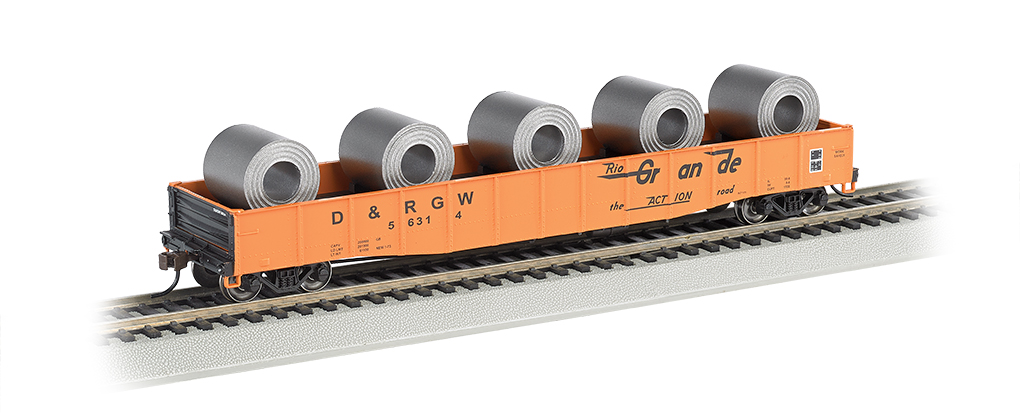 "D&RGW™ - 50'6"" Drop End Gondola w/ Steel Coil Load (HO Scale)"