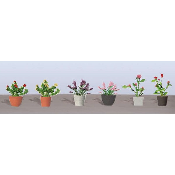 "FLOWER PLANTS POTTED ASSORTMENT 1, 1"" High, O Scale, 6/pk."
