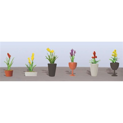 "FLOWER PLANTS POTTED ASSORTMENT 2, 7/8"" High, HO Scale, 6/pk."