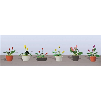 "FLOWER PLANTS POTTED ASSORTMENT 3, 1"" High, O Scale, 6/pk."