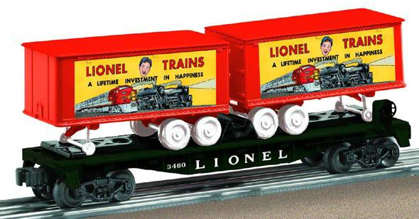 6-29460 LIONEL LINES O27 FLAT CAR W/PIGGYBACK TRAILERS #3460
