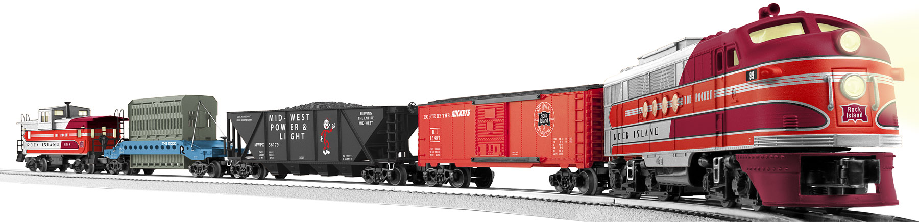 6-30179 ROCK ISLAND ROCKET FREIGHT SET W/ RAILSOUNDS RTR