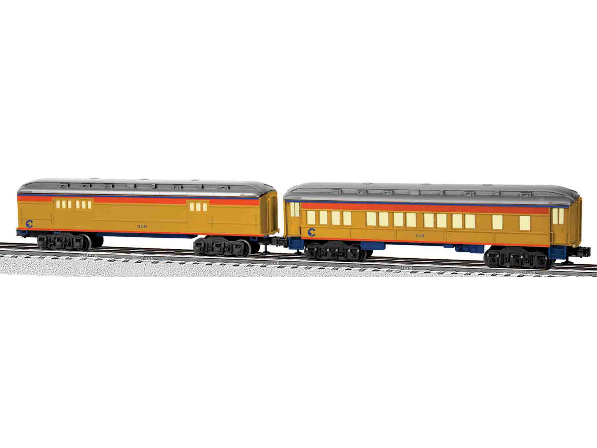 6-81769 CHESSIE SYSTEM COACH/BAGGAGE PASSENGER CAR 2pk