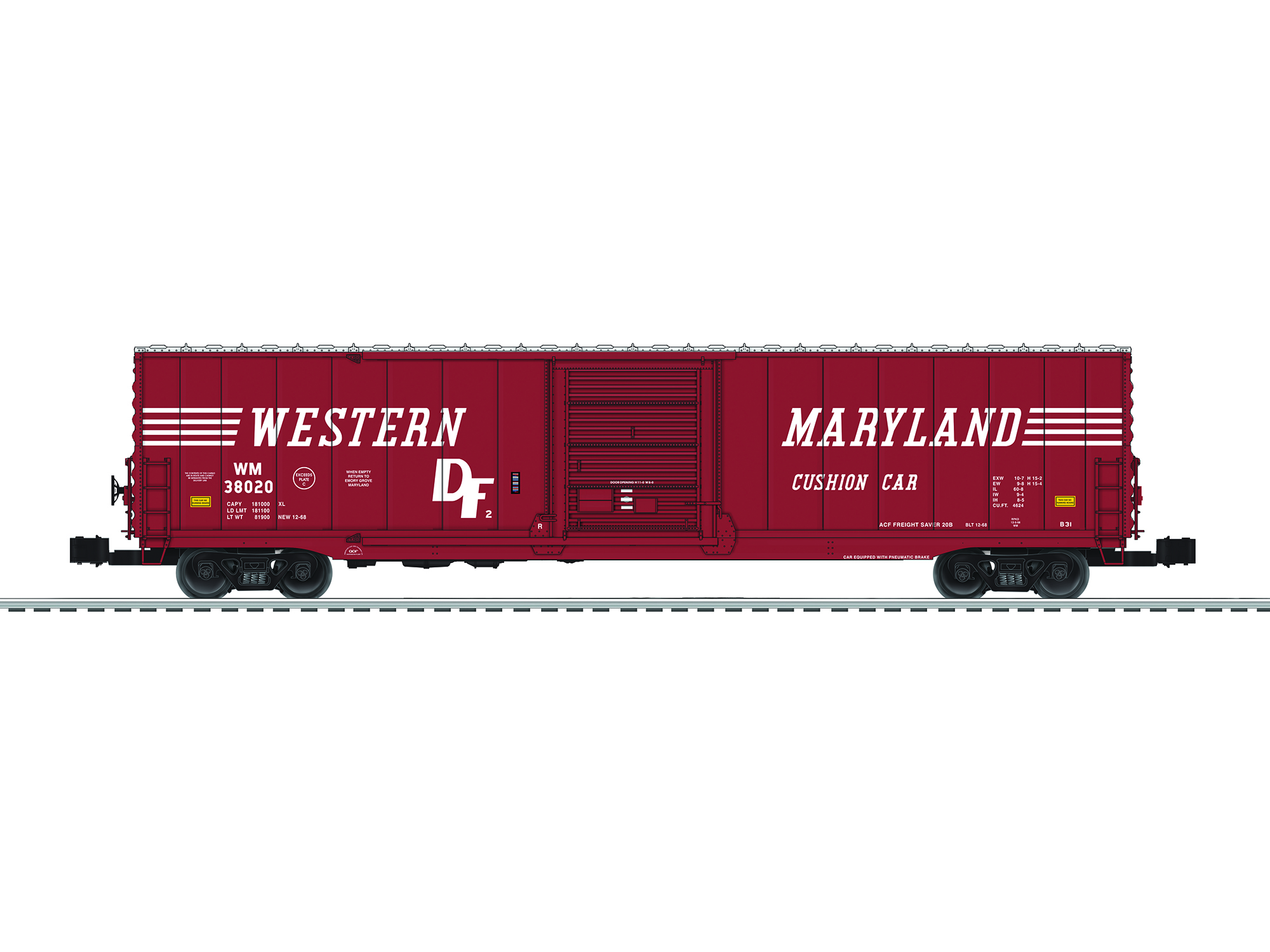 6-82657 WESTERN MARYLAND SCALE 60' BOXCAR #38020