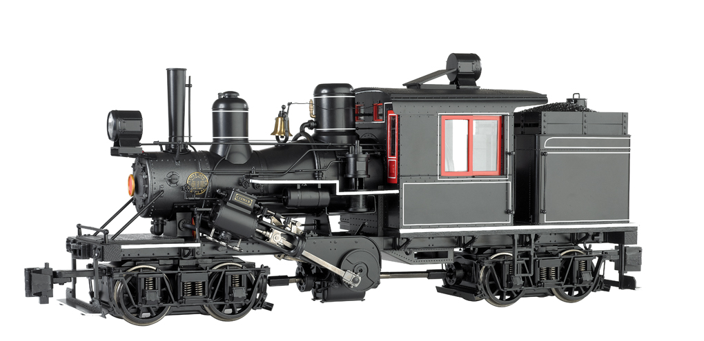 Black w/ Red Windows, Pin Striping - Two-Truck Climax (G Scale)