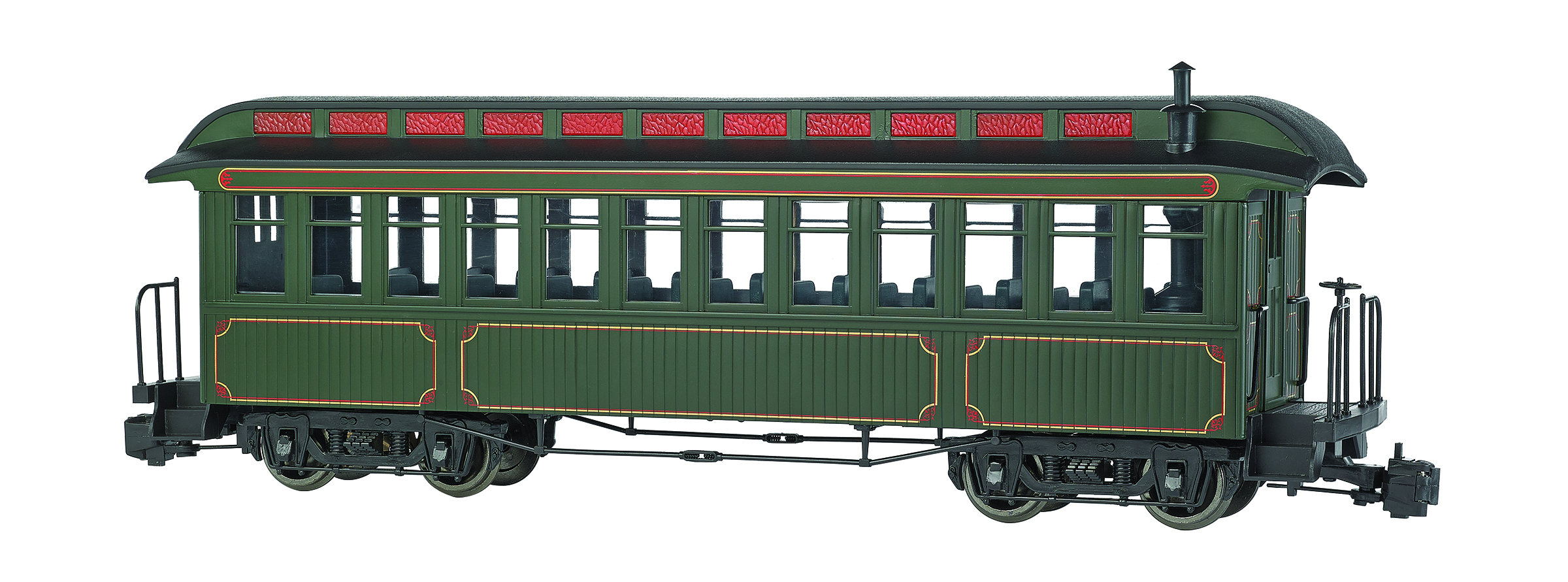 Coach - Painted Unlettered - Olive With Gold Lining (G Scale)