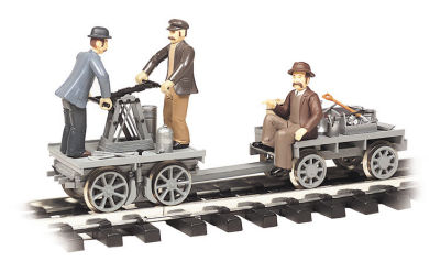Gray - Gandy Dancer Hand Car with Trailer (G Scale)