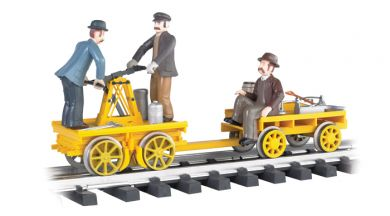 Yellow -Gandy Dancer Hand Car with Trailer (G Scale)