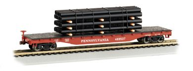 52' Flat Car - PRR with Pipe Load