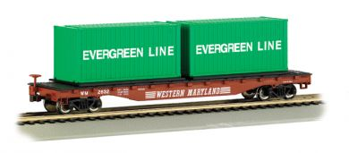 52' Flat Car - Western Maryland® with Container Load