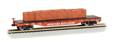 52' Flat Car - Western Maryland® with Crated Load