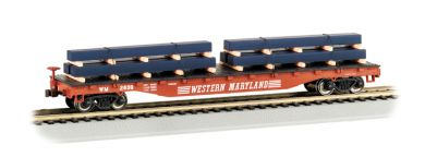 52' Flat Car - Western Maryland® with Steel Load