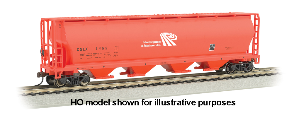 Potash - 4 Bay Cylindrical Grain Hopper (N Scale)
