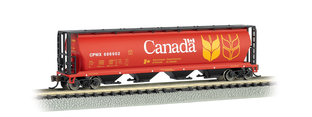 Canada Grain - 4 Bay Cylindrical Grain Hopper (N Scale)