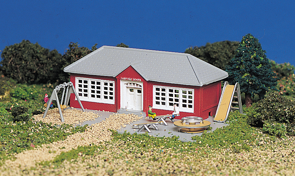 School House with Playground Equipment (N Scale)