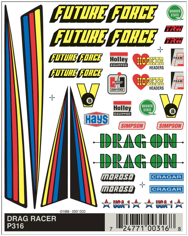 No.316 Drag Racer Decals