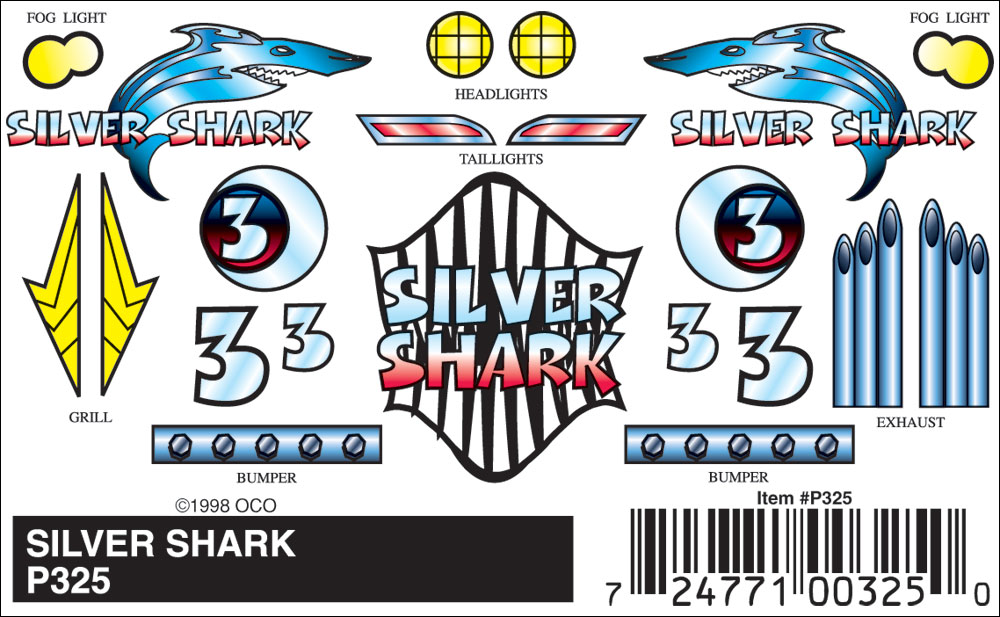 No.325 Silver Shark Decals