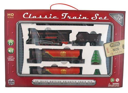 Train Set 20 piece - Steam Engine with Tanker Cars