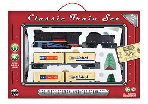 Train Set 20 piece - Steam Engine with Cargo Containers
